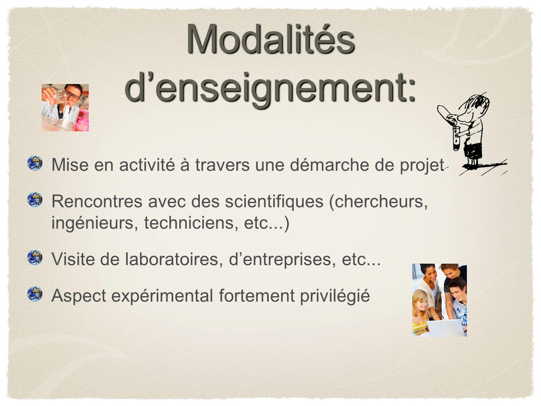 Modalités denseignement: Mise en activité à travers une démarche de projet Rencontres avec des scientifiques (chercheurs, ingénieurs, techniciens, etc