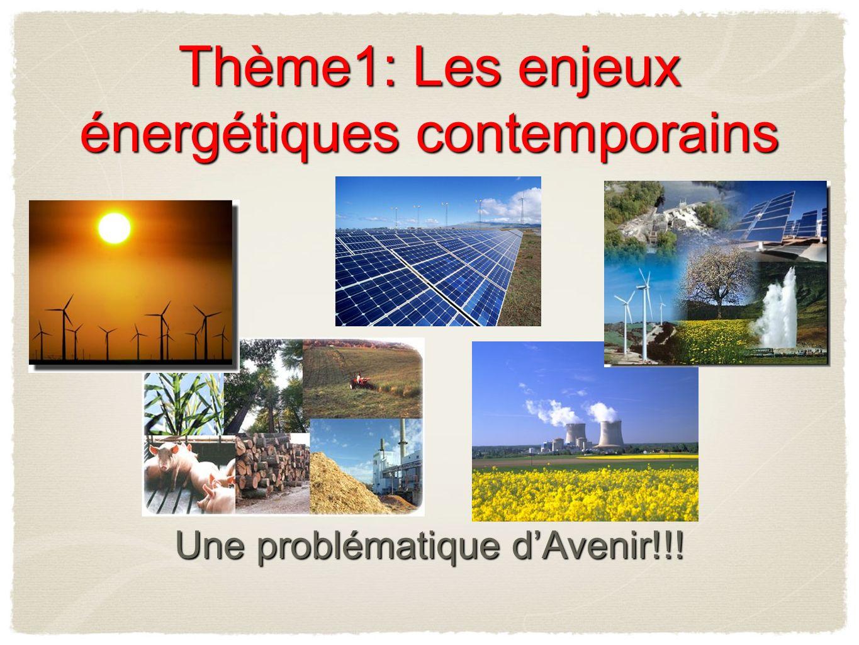 Thème1: Les enjeux énergétiques contemporains Une problématique dAvenir!!!