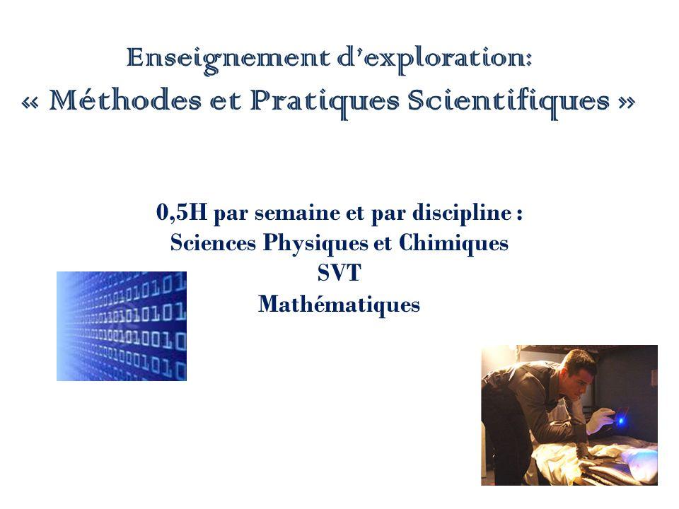 Enseignement dexploration: « Méthodes et Pratiques Scientifiques » 0,5H par semaine et par discipline : Sciences Physiques et Chimiques SVT Mathématiques