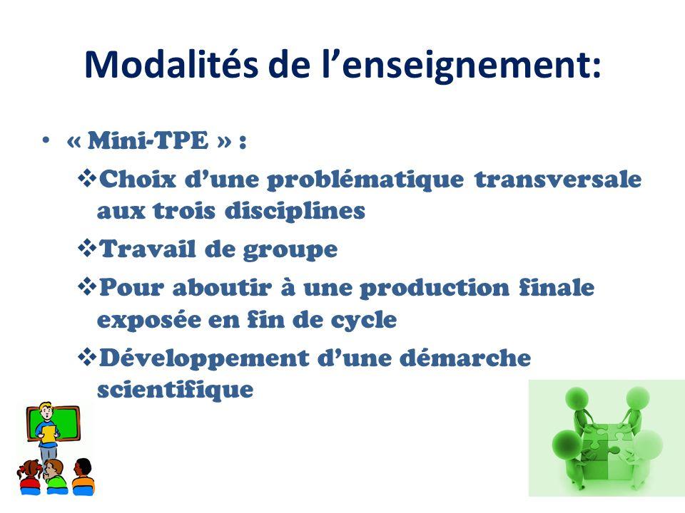 Modalités de lenseignement: « Mini-TPE » : Choix dune problématique transversale aux trois disciplines Travail de groupe Pour aboutir à une production finale exposée en fin de cycle Développement dune démarche scientifique