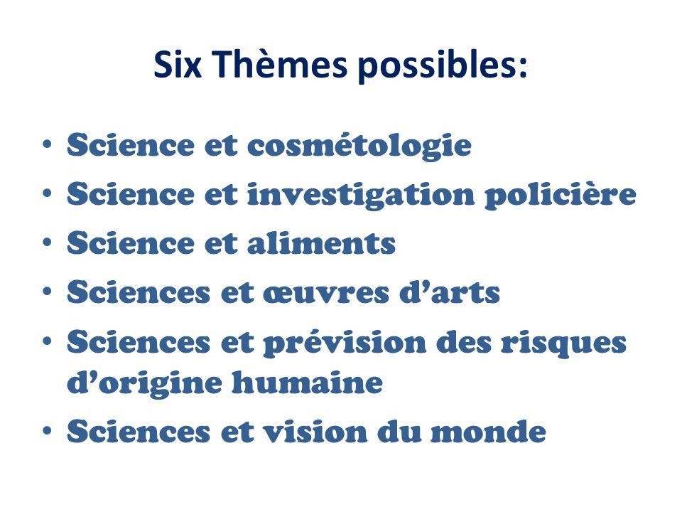 Six Thèmes possibles: Science et cosmétologie Science et investigation policière Science et aliments Sciences et œuvres darts Sciences et prévision de