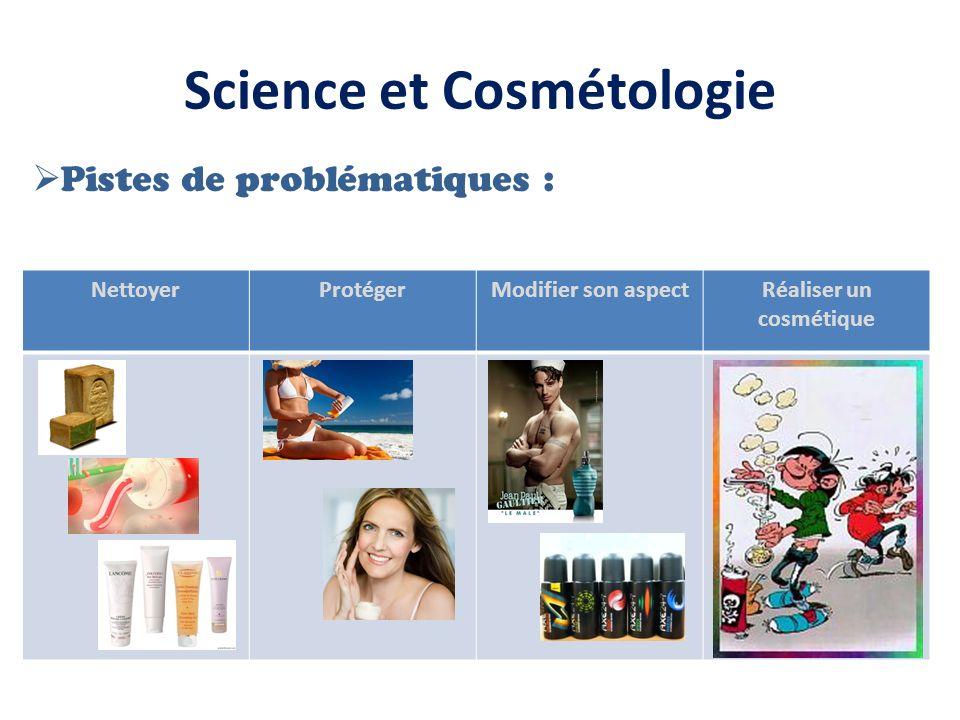 Science et Cosmétologie Pistes de problématiques : NettoyerProtégerModifier son aspectRéaliser un cosmétique