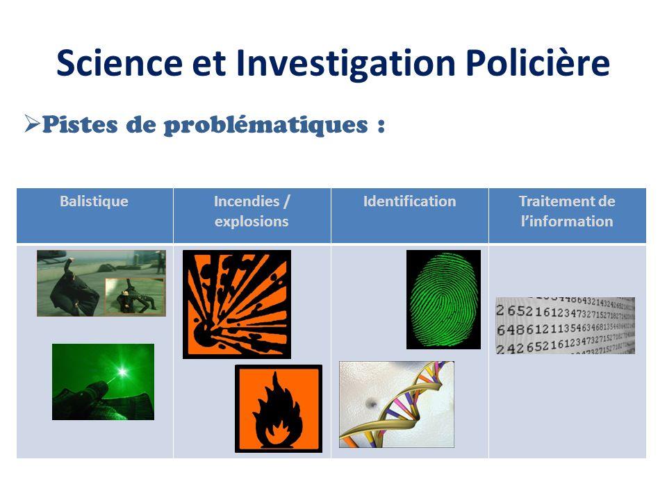 Science et Investigation Policière Pistes de problématiques : BalistiqueIncendies / explosions IdentificationTraitement de linformation