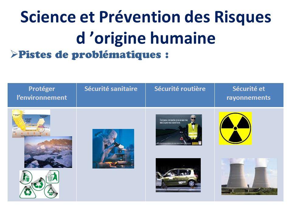 Science et Prévention des Risques d origine humaine Pistes de problématiques : Protéger lenvironnement Sécurité sanitaireSécurité routièreSécurité et rayonnements