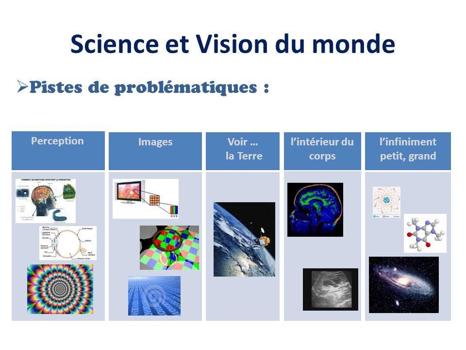 Science et Vision du monde Pistes de problématiques : Perception ImagesVoir … la Terre linfiniment petit, grand lintérieur du corps