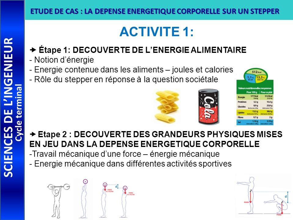 ACTIVITE 1: Étape 1: DECOUVERTE DE LENERGIE ALIMENTAIRE - Notion dénergie - Energie contenue dans les aliments – joules et calories - Rôle du stepper