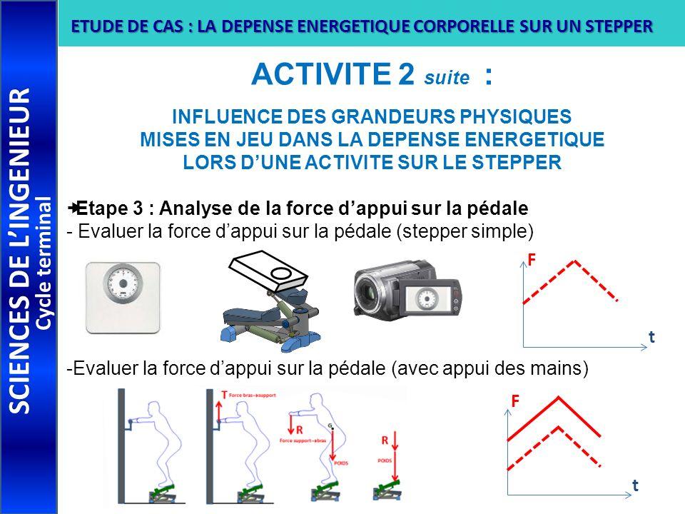 ACTIVITE 2 suite : INFLUENCE DES GRANDEURS PHYSIQUES MISES EN JEU DANS LA DEPENSE ENERGETIQUE LORS DUNE ACTIVITE SUR LE STEPPER Etape 3 : Analyse de l