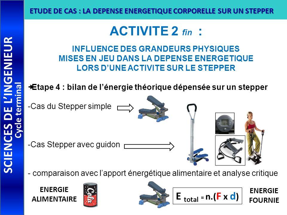 ACTIVITE 2 fin : INFLUENCE DES GRANDEURS PHYSIQUES MISES EN JEU DANS LA DEPENSE ENERGETIQUE LORS DUNE ACTIVITE SUR LE STEPPER Etape 4 : bilan de léner