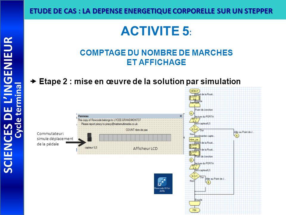 ACTIVITE 5 : COMPTAGE DU NOMBRE DE MARCHES ET AFFICHAGE Etape 2 : mise en œuvre de la solution par simulation SCIENCES DE LINGENIEUR Cycle terminal ET