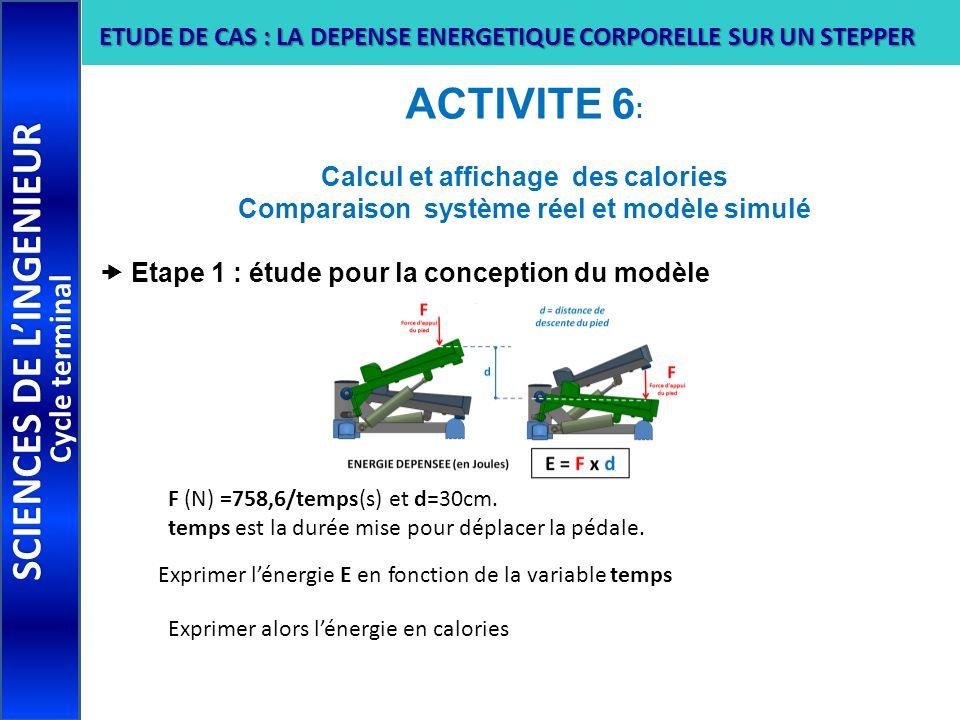 ACTIVITE 6 : Calcul et affichage des calories Comparaison système réel et modèle simulé Etape 1 : étude pour la conception du modèle SCIENCES DE LINGE
