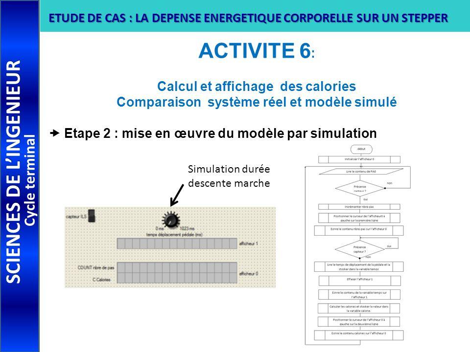 ACTIVITE 6 : Calcul et affichage des calories Comparaison système réel et modèle simulé Etape 2 : mise en œuvre du modèle par simulation SCIENCES DE L