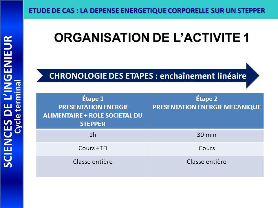 ORGANISATION DE LACTIVITE 1 SCIENCES DE LINGENIEUR Cycle terminal ETUDE DE CAS : LA DEPENSE ENERGETIQUE CORPORELLE SUR UN STEPPER Étape 1 PRESENTATION