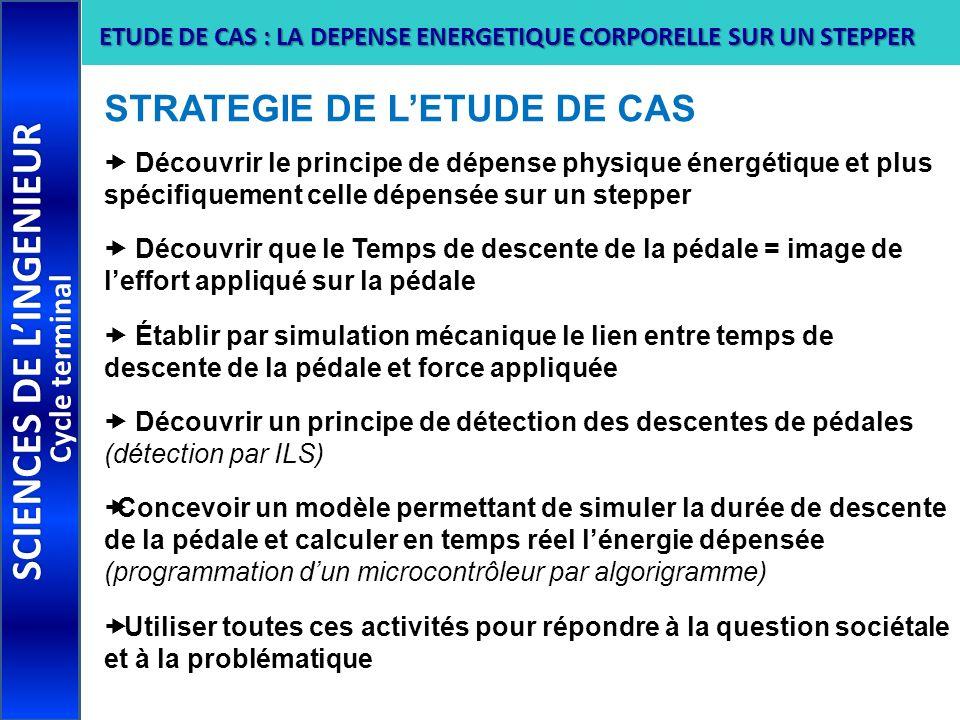 SCIENCES DE LINGENIEUR Cycle terminal ETUDE DE CAS : LA DEPENSE ENERGETIQUE CORPORELLE SUR UN STEPPER STRATEGIE DE LETUDE DE CAS Découvrir le principe