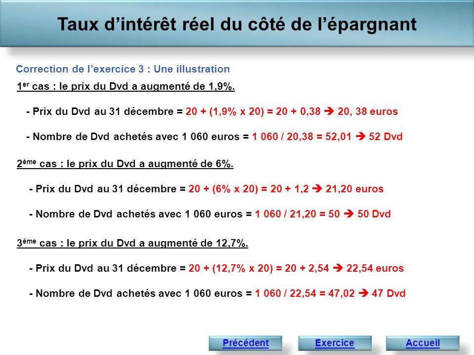Taux dintérêt réel du côté de lépargnant AccueilExercice Correction de lexercice 3 : Une illustration 1 er cas : le prix du Dvd a augmenté de 1,9%. -