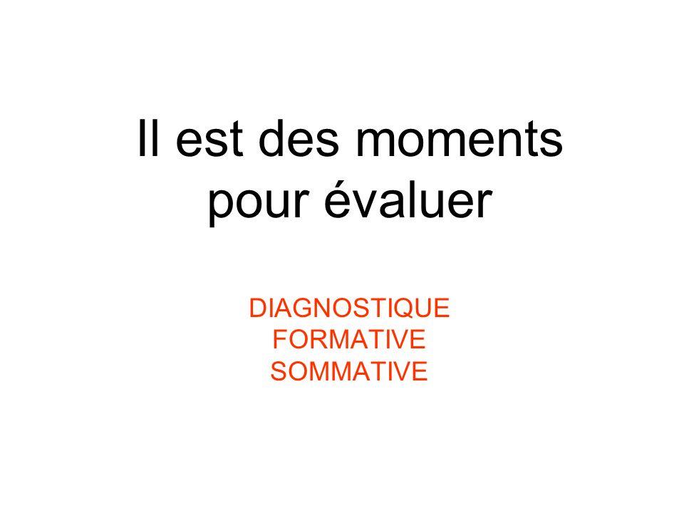Il est des moments pour évaluer DIAGNOSTIQUE FORMATIVE SOMMATIVE