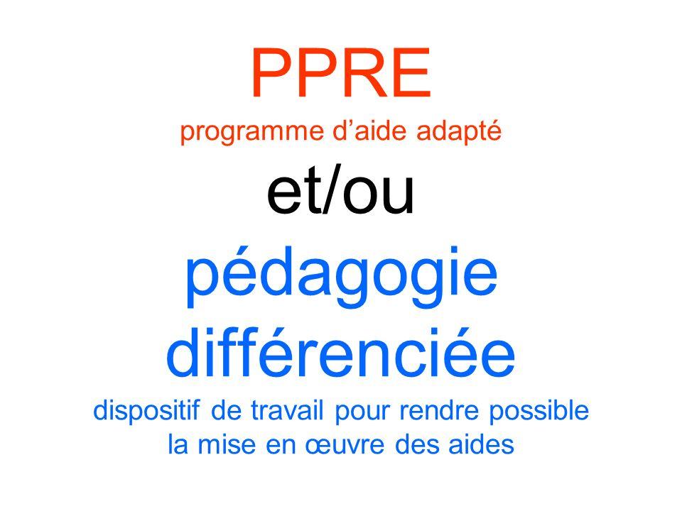PPRE programme daide adapté et/ou pédagogie différenciée dispositif de travail pour rendre possible la mise en œuvre des aides