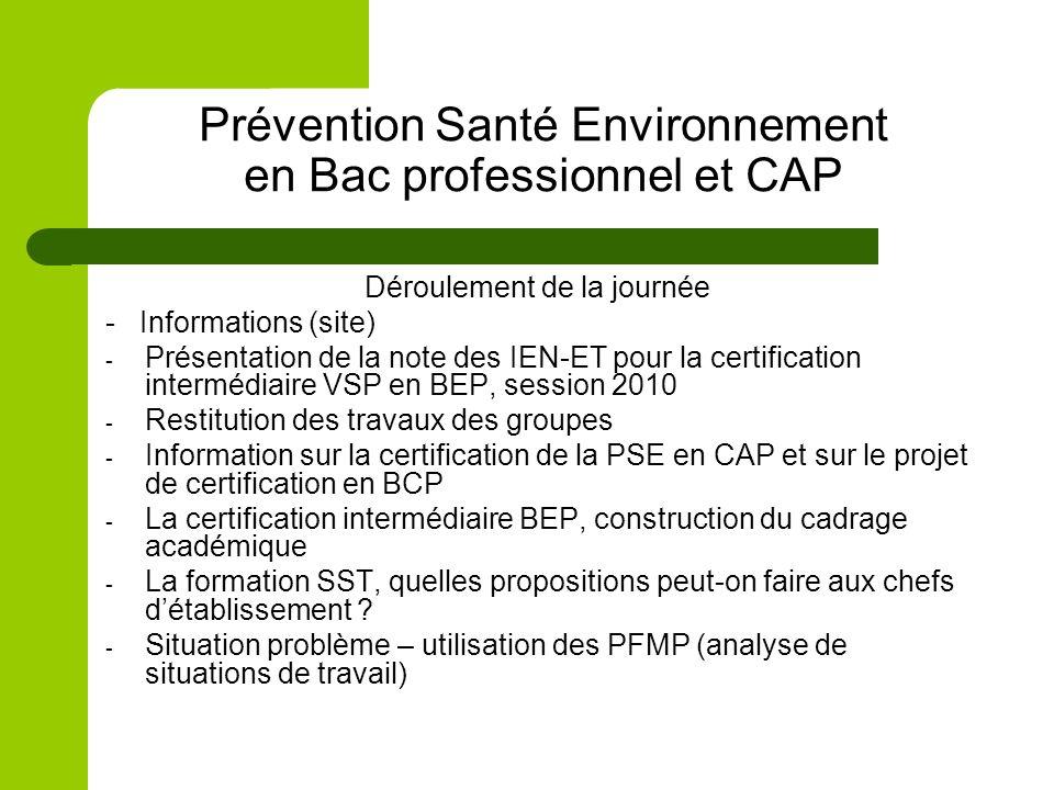 Prévention Santé Environnement en Bac professionnel et CAP Déroulement de la journée - Informations (site) - Présentation de la note des IEN-ET pour l