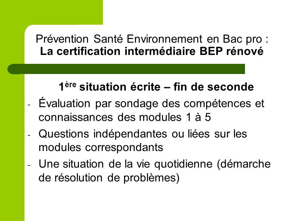 Prévention Santé Environnement en Bac pro : La certification intermédiaire BEP rénové 1 ère situation écrite – fin de seconde - Évaluation par sondage