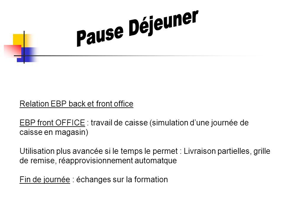 Relation EBP back et front office EBP front OFFICE : travail de caisse (simulation dune journée de caisse en magasin) Utilisation plus avancée si le t
