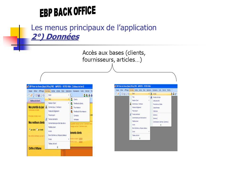 Accès aux bases (clients, fournisseurs, articles…) Les menus principaux de lapplication 2°) Données