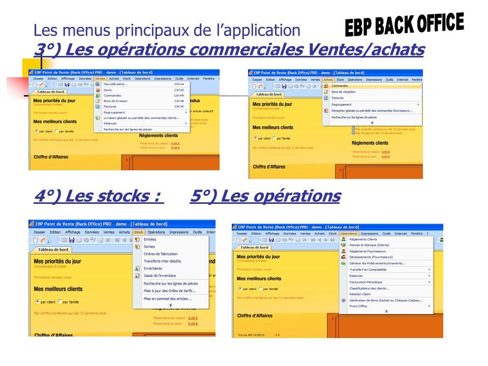 Les menus principaux de lapplication 3°) Les opérations commerciales Ventes/achats 4°) Les stocks : 5°) Les opérations