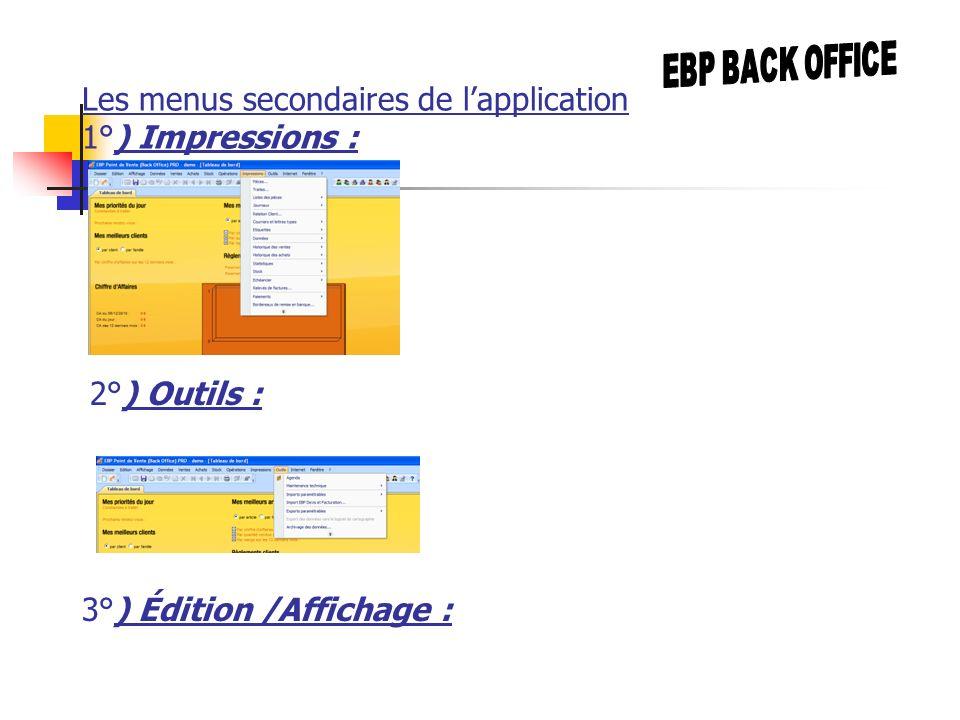 Les menus secondaires de lapplication 1°) Impressions : 2°) Outils : 3°) Édition /Affichage :