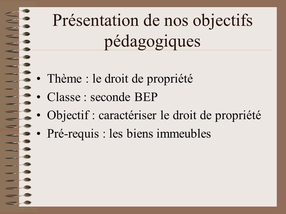 Présentation de nos objectifs pédagogiques Thème : le droit de propriété Classe : seconde BEP Objectif : caractériser le droit de propriété Pré-requis