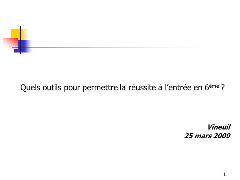 1 Quels outils pour permettre la réussite à lentrée en 6 ème Vineuil 25 mars 2009