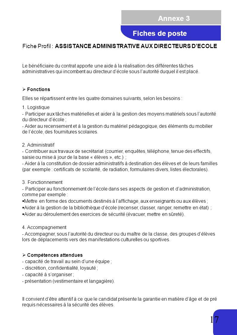 17 Annexe 3 Fiche Profil : ASSISTANCE ADMINISTRATIVE AUX DIRECTEURS DECOLE Le bénéficiaire du contrat apporte une aide à la réalisation des différentes tâches administratives qui incombent au directeur décole sous lautorité duquel il est placé.