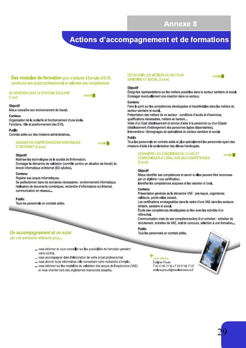 29 Annexe 8 Actions daccompagnement et de formations