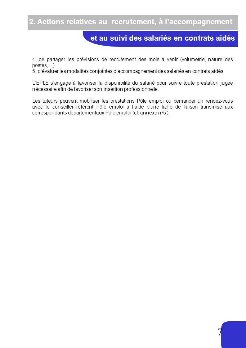 7 2. Actions relatives au recrutement, à laccompagnement et au suivi des salariés en contrats aidés 4. de partager les prévisions de recrutement des m