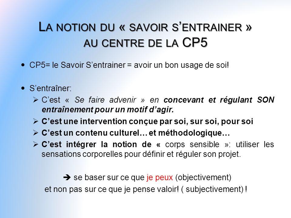 CP5= le Savoir Sentrainer = avoir un bon usage de soi! Sentraîner: Cest « Se faire advenir » en concevant et régulant SON entraînement pour un motif d