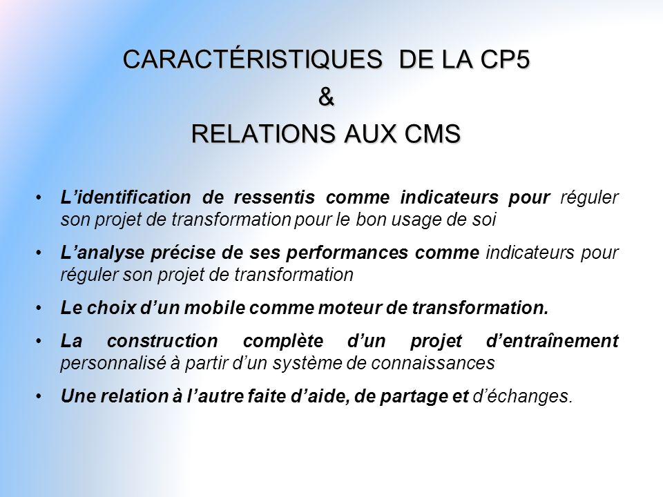 CARACTÉRISTIQUES DE LA CP5 & RELATIONS AUX CMS Lidentification de ressentis comme indicateurs pour réguler son projet de transformation pour le bon us