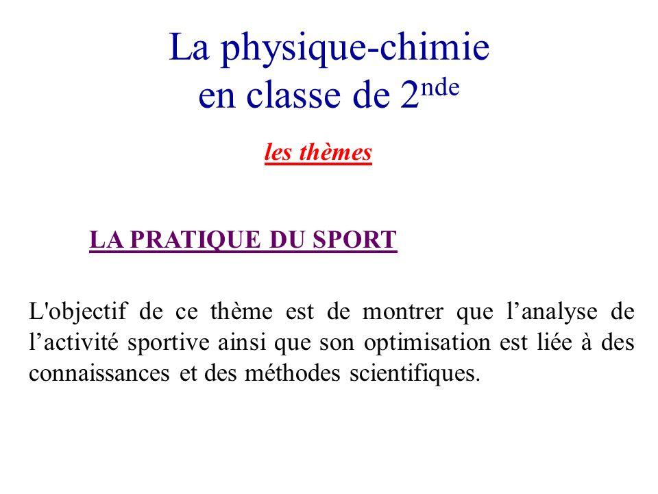 La physique-chimie en classe de 2 nde les thèmes LA PRATIQUE DU SPORT L'objectif de ce thème est de montrer que lanalyse de lactivité sportive ainsi q
