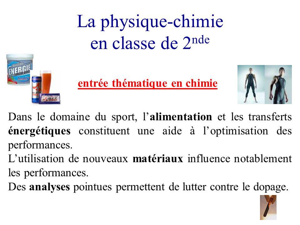 La physique-chimie en classe de 2 nde entrée thématique en chimie Dans le domaine du sport, lalimentation et les transferts énergétiques constituent u