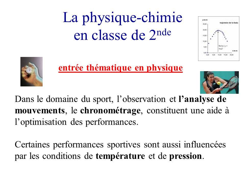 La physique-chimie en classe de 2 nde entrée thématique en physique Dans le domaine du sport, lobservation et lanalyse de mouvements, le chronométrage
