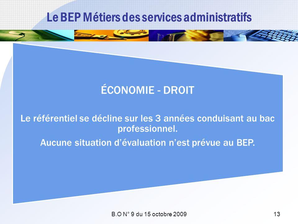Le BEP Métiers des services administratifs ÉCONOMIE - DROIT Le référentiel se décline sur les 3 années conduisant au bac professionnel. Aucune situati