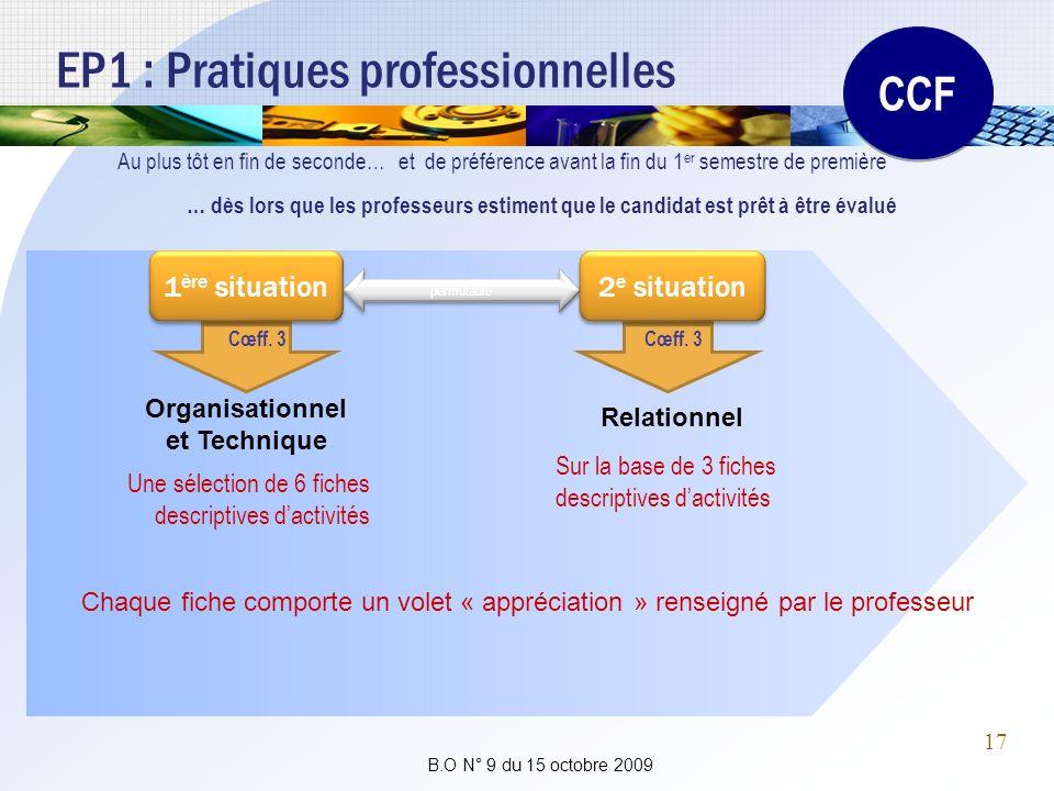 EP1 : Pratiques professionnelles Au plus tôt en fin de seconde…et de préférence avant la fin du 1 er semestre de première CCF permutable Une sélection