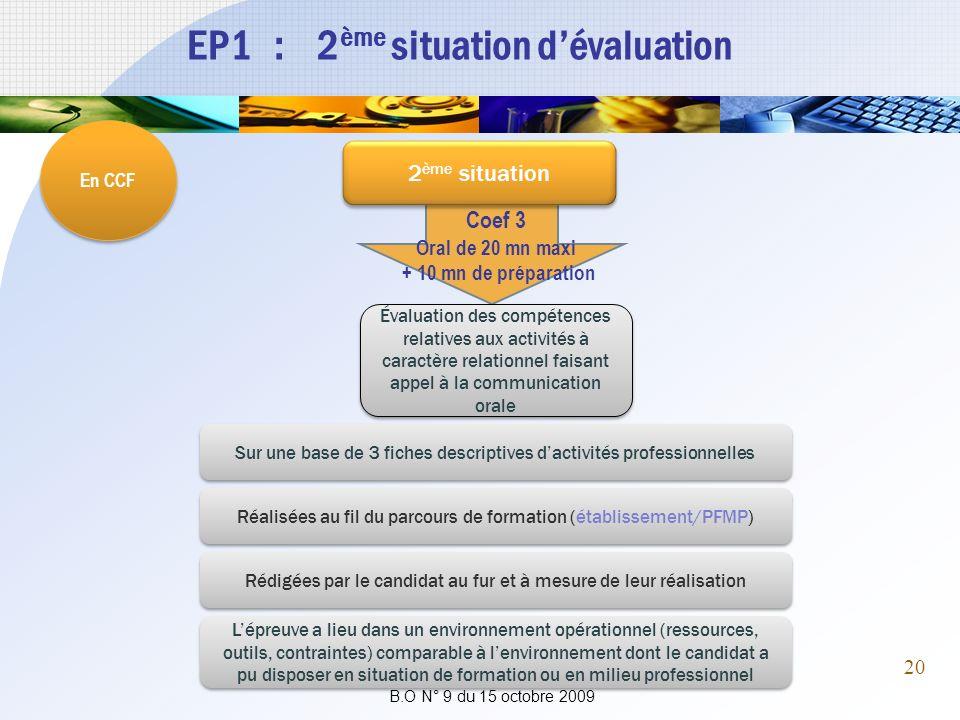 EP1 : 2 ème situation dévaluation En CCF Coef 3 Oral de 20 mn maxi + 10 mn de préparation 2 ème situation Évaluation des compétences relatives aux act
