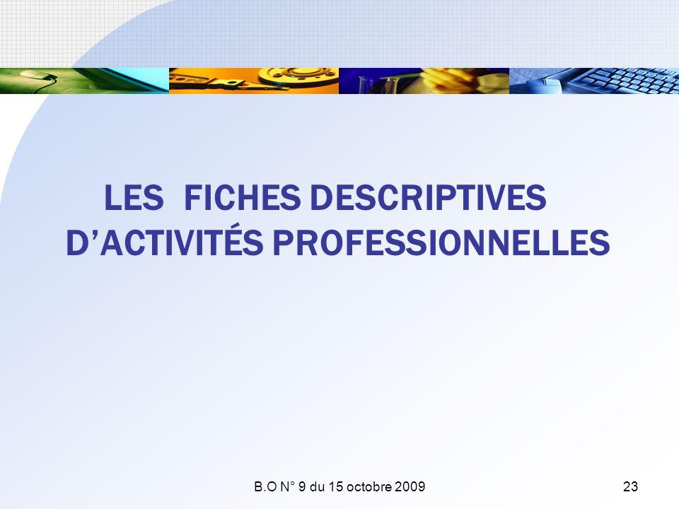 LES FICHES DESCRIPTIVES DACTIVITÉS PROFESSIONNELLES B.O N° 9 du 15 octobre 200923