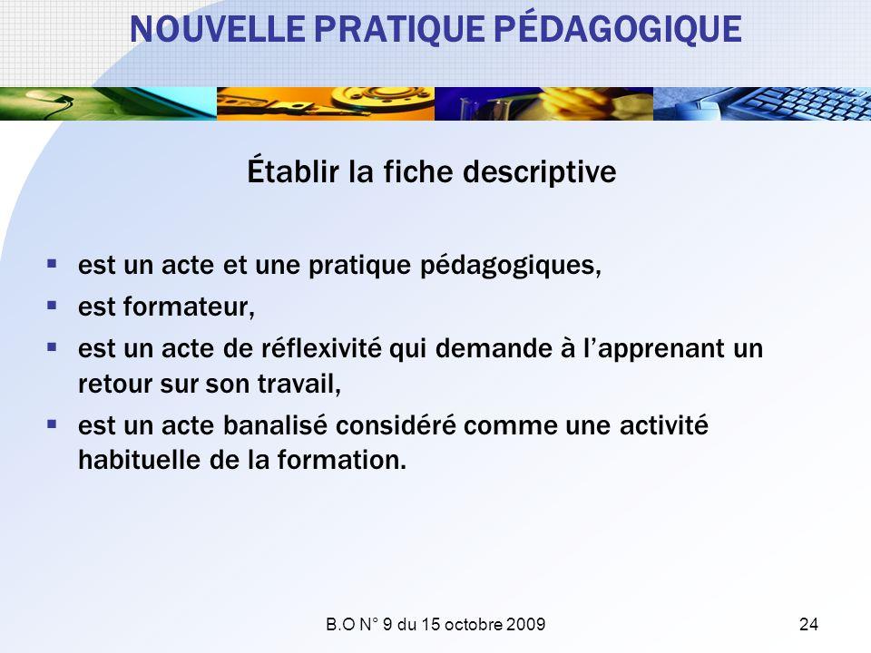 NOUVELLE PRATIQUE PÉDAGOGIQUE Établir la fiche descriptive est un acte et une pratique pédagogiques, est formateur, est un acte de réflexivité qui dem
