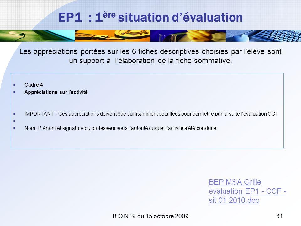 EP1 : 1 ère situation dévaluation Cadre 4 Appréciations sur lactivité IMPORTANT : Ces appréciations doivent être suffisamment détaillées pour permettr
