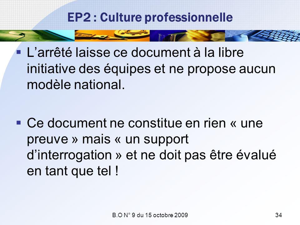 EP2 : Culture professionnelle Larrêté laisse ce document à la libre initiative des équipes et ne propose aucun modèle national. Ce document ne constit