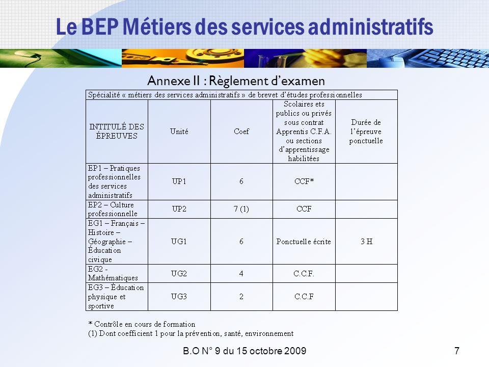 Le BEP Métiers des services administratifs Annexe II : Règlement dexamen B.O N° 9 du 15 octobre 20097