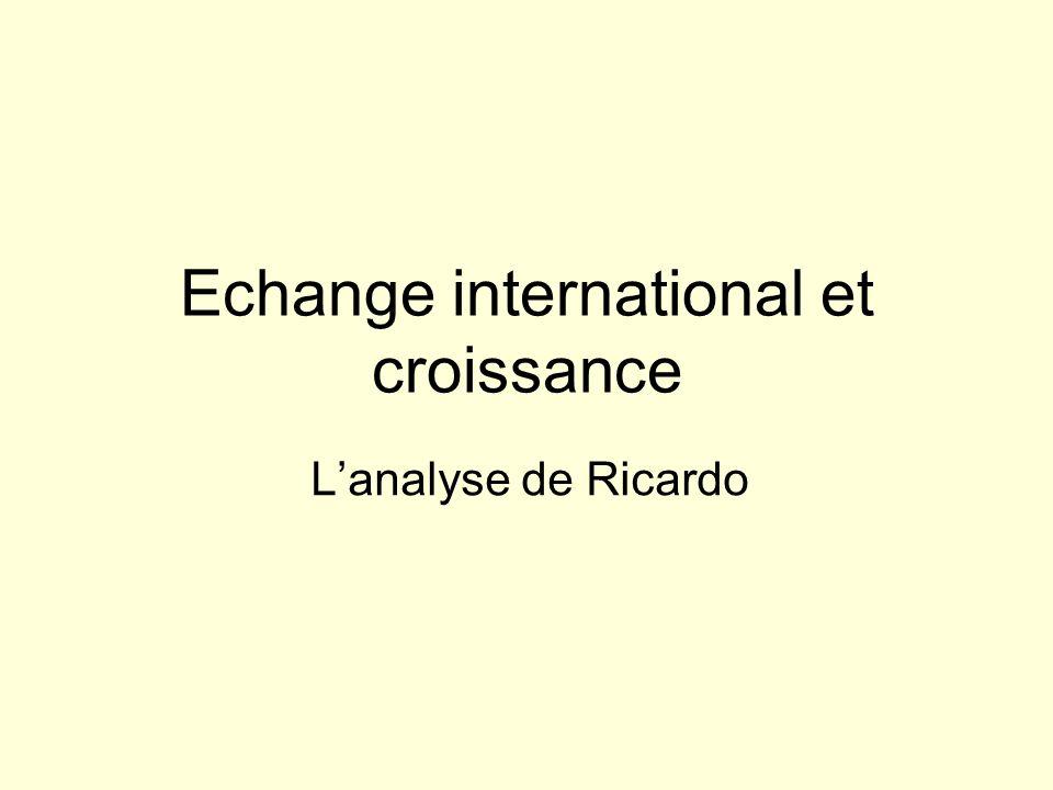 Echange international et croissance Lanalyse de Ricardo