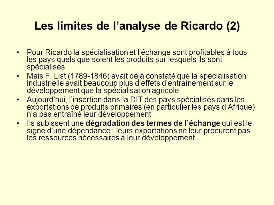 Les limites de lanalyse de Ricardo (2) Pour Ricardo la spécialisation et léchange sont profitables à tous les pays quels que soient les produits sur lesquels ils sont spécialisés Mais F.
