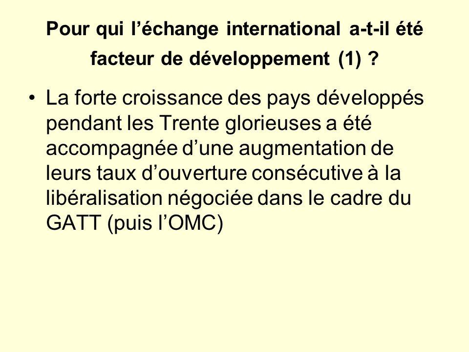 Pour qui léchange international a-t-il été facteur de développement (1) .