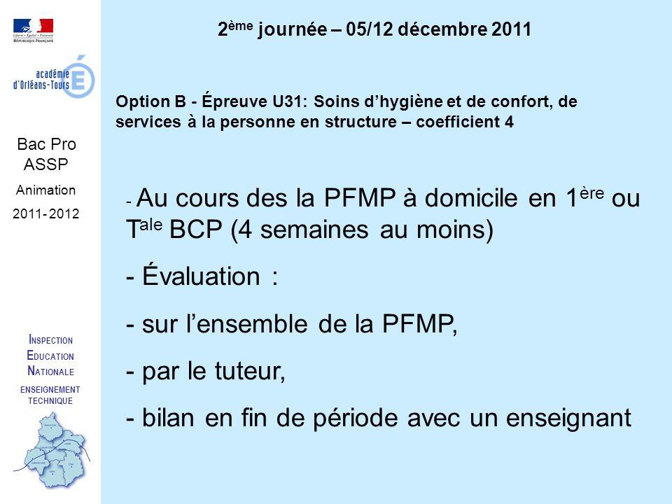 I NSPECTION E DUCATION N ATIONALE ENSEIGNEMENT TECHNIQUE Bac Pro ASSP Animation 2011- 2012 2 ème journée – 05/12 décembre 2011 Option B - Épreuve U31: