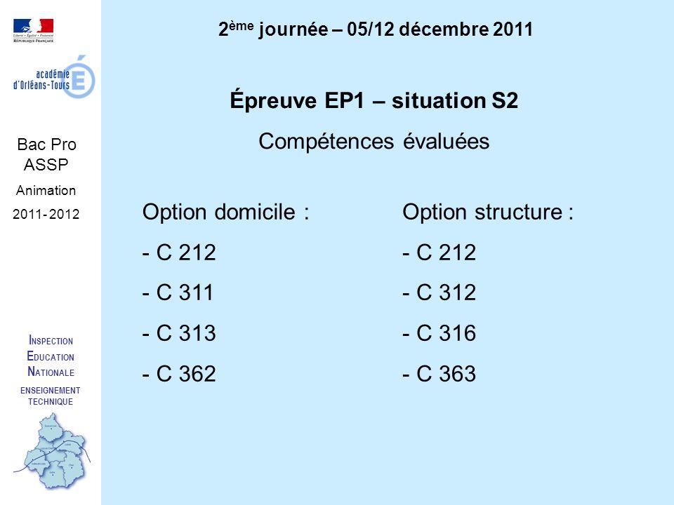 I NSPECTION E DUCATION N ATIONALE ENSEIGNEMENT TECHNIQUE Bac Pro ASSP Animation 2011- 2012 2 ème journée – 05/12 décembre 2011 Épreuve EP1 – situation