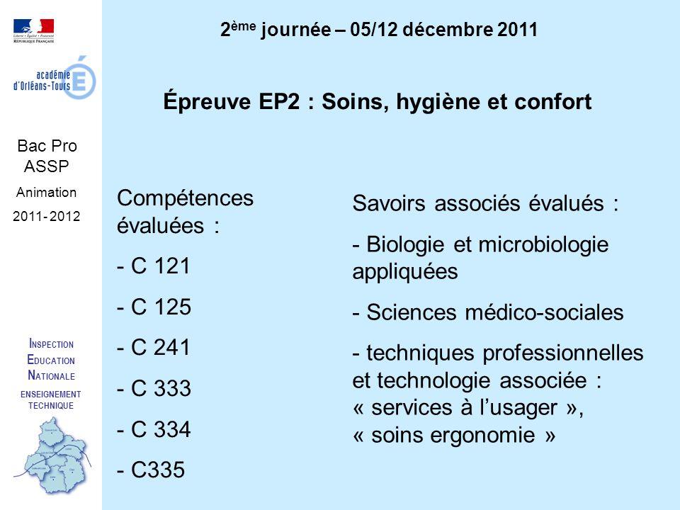 I NSPECTION E DUCATION N ATIONALE ENSEIGNEMENT TECHNIQUE Bac Pro ASSP Animation 2011- 2012 2 ème journée – 05/12 décembre 2011 Épreuve EP2 : Soins, hy